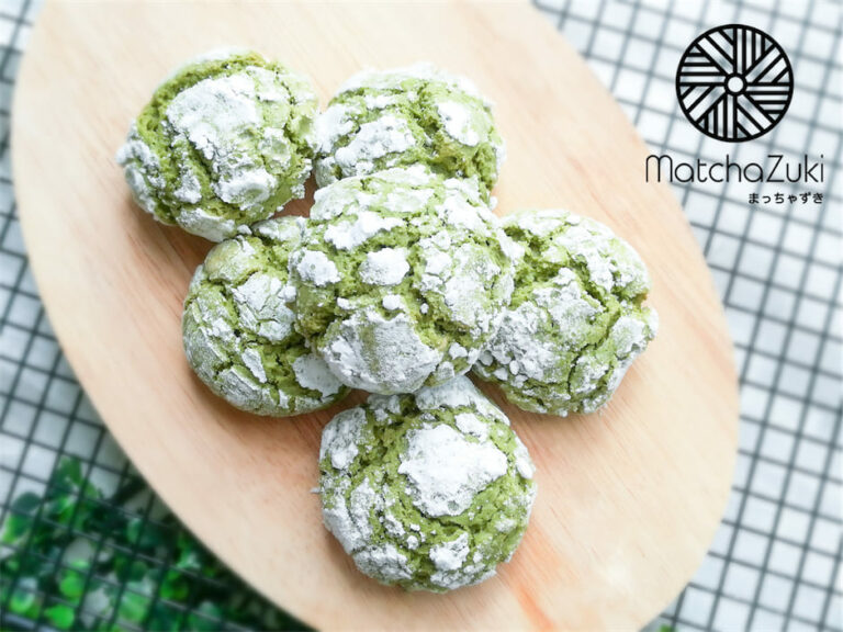 Matcha Crinkle Cookies คุกกี้หิมะชาเขียว