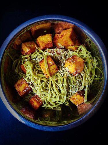 Green Tea Sesame Soba Noodles With Stir Fried Tofu